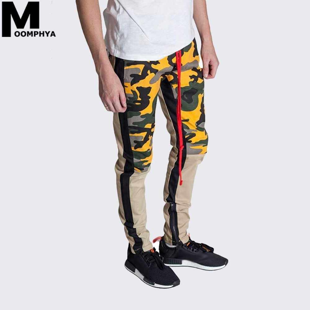 prix compétitif 2139b ebe5a Moomphya Streetwear Patchwork color blocks men pants Zipper Military camo  pants men pantalon homme mens joggers pants