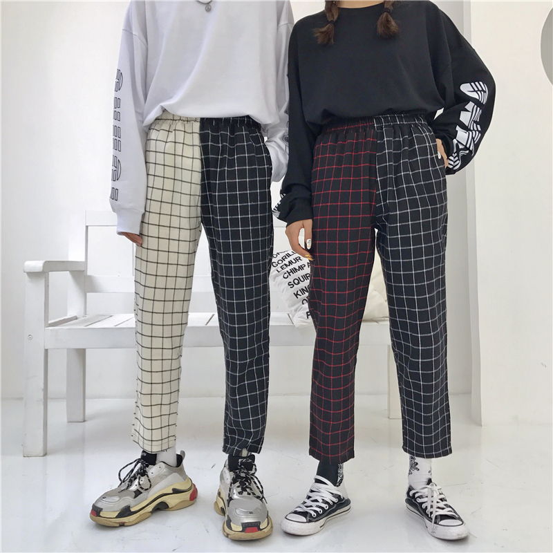 Harajuku Pants Patchwork Plaid Pant Women Drawstring Elastic Waist Straight Trouser Autumn Fashion Outwear