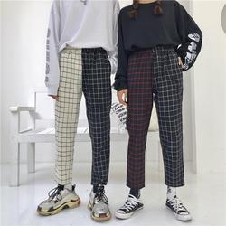 Брюки Харадзюку лоскутное плед штаны Для женщин эластичный шнурок на талии прямые брюки осень модная верхняя одежда