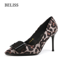 BELISS New Fashion Women Pumps Leopard High Heel Sexy Pointed Toe Female Dress Party Shoes Slip-on Shallow X20