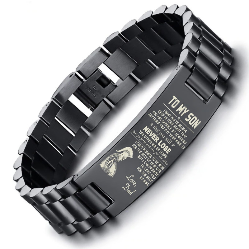 Dropship SPARTAN BRAZALETE To My Son Stainless Steel Men Bracelet in Black with 8.26 inch