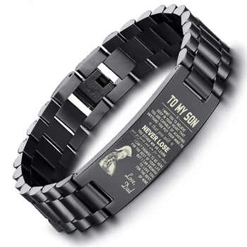 Dropship SPARTAN BRAZALETE To My Son Stainless Steel Men Bracelet in Black with 8.26 inch - DISCOUNT ITEM  46% OFF All Category