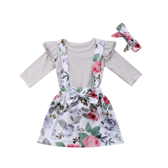 25c33089c Baby Girls Suspenders Pants Set Long Sleeve Ruffle Romper Jumpsuit + Floral  Short Overalls Skirt Outfit