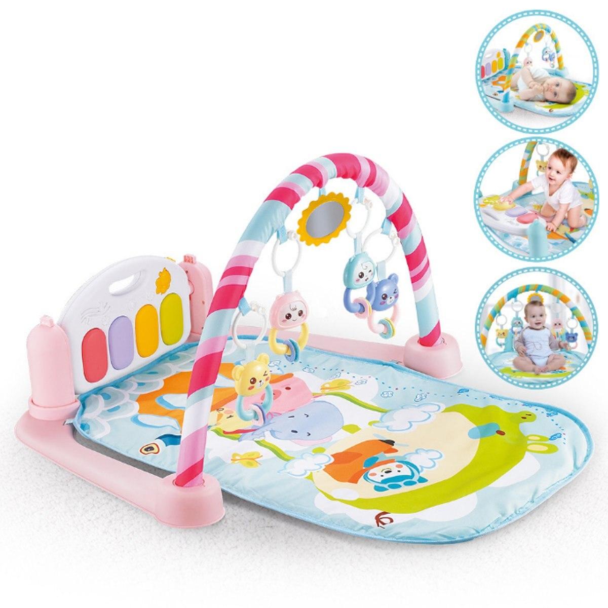 Grand 5-en-1 bébé infantile Gym tapis de jeu activité sol tapis de jeu Fitness exercice tapis Piano Musical jouets éducatifs