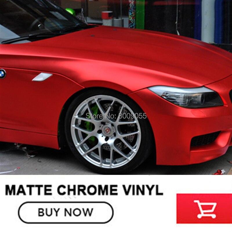 Accessoires de voiture OPLARE mat Chrome rouge Film d'enveloppe de vinyle rouleau sans bulle pour le style de voiture taille: 1.52*20 M/rouleau pour n'importe quelle voiture
