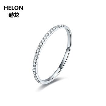 Solid 10k White Gold Engagement Wedding Ring Women 0.05ct SI/H Natural Diamonds Anniversary Band Elegant Thin Girl's Favorite