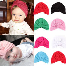 New Cute Newborn Baby Girls Cotton Bow Turban Bucket Hat Skull Caps Infant Toddler Comfy Bowknot Hospital Cap Beanies Hat(China)