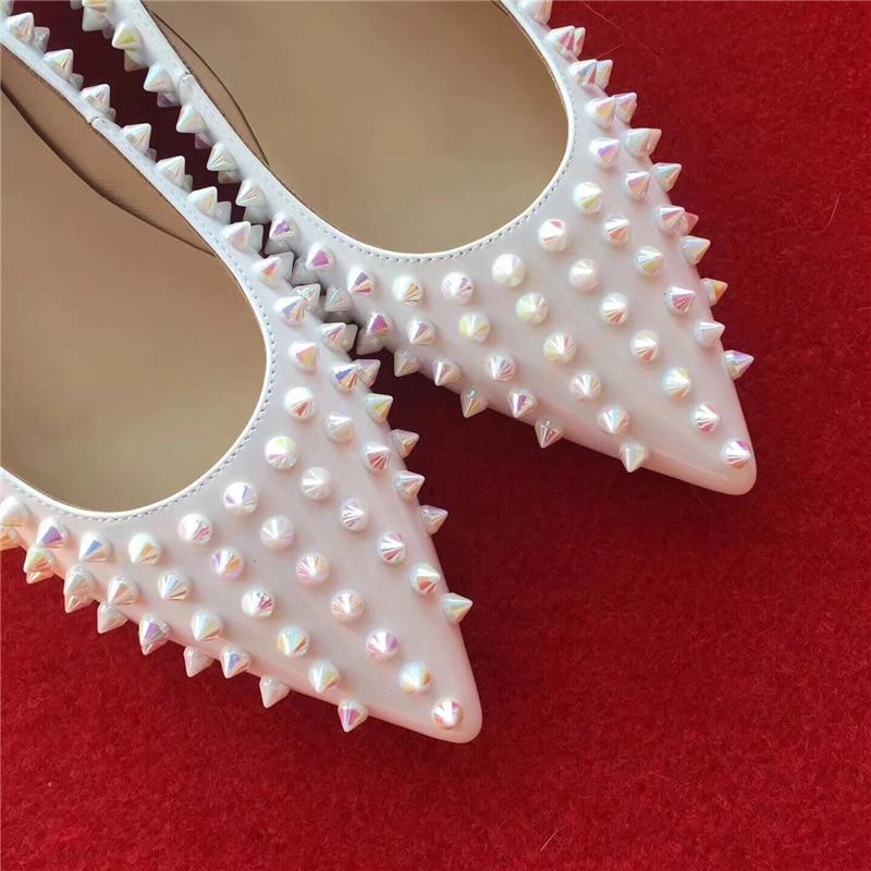 Piste Chaussures Sexy 2018 Stueded Sur Show as Bout Mujer Mocassins Les Mariage Appartements Show Sandalias Slip De Femmes Pointu Rivets As 34 Parti 41 c4rWTq4A