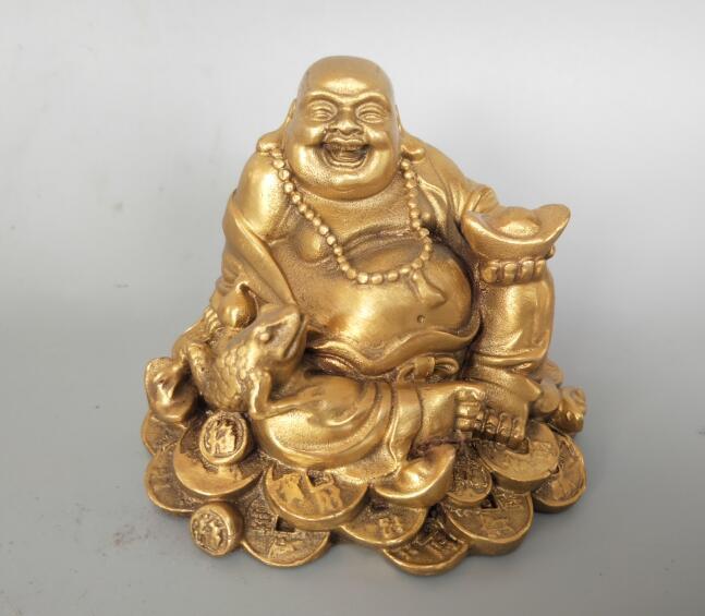 China pure brass Golden toad Maitreya Buddha statue Statues & Sculptures     - title=