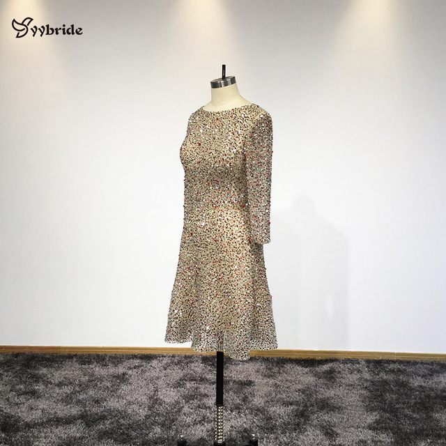YYbride Hand Beading BlingBling Colorfully Short Dresses Scoop Neck Above Knee Sexy Party Dresses Backless Mini Cocktail Dresses 1