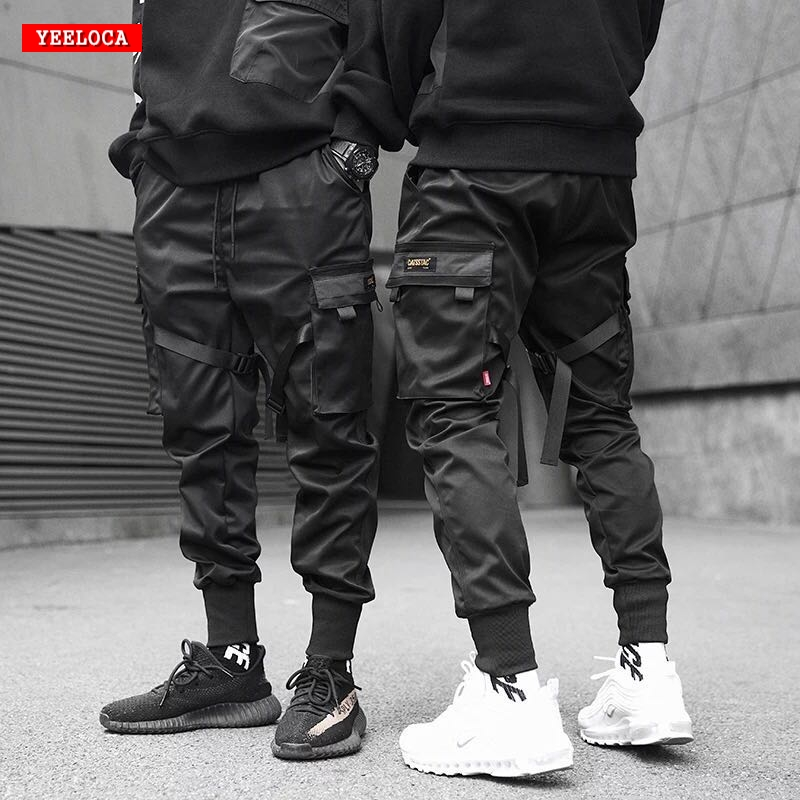 Dropshipping 2019 spring and summer new streamer pocket Harlan tooling pants Elastic Waist men's sweatpants tactical Pants(China)