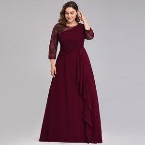 Image 3 - כלה אמא שמלה בתוספת גודל ערב מסיבת שמלות 2020 אלגנטית תחרה אונליין שיפון ארוך שרוול O צוואר אמא של הכלה שמלות