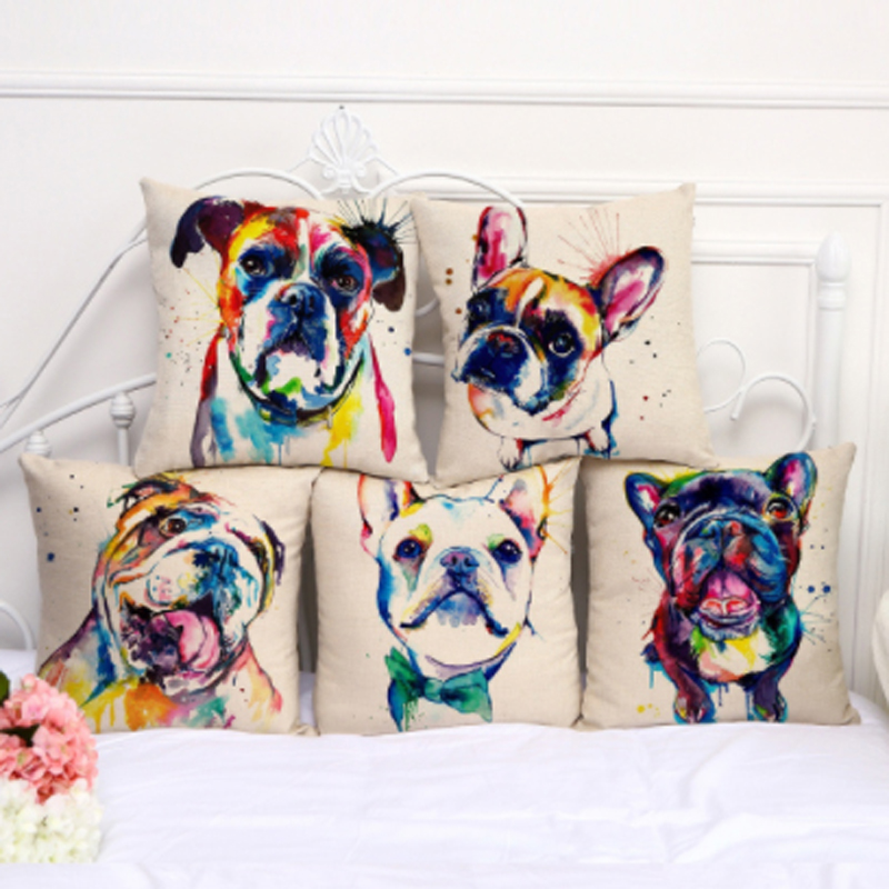 1 Stücke Modische Bulldog Gedruckt Baumwolle Leinen Kissen Abdeckung Kissen Fall Für Schöne Schlafzimmer Wohnkultur