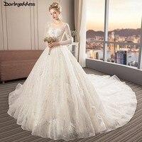 Elegant Long Sleeve Wedding Dress 2018 Sequin Ball Gown Wedding Dresses Plus Size Wedding Dress Royal Train Weddingdress 2019