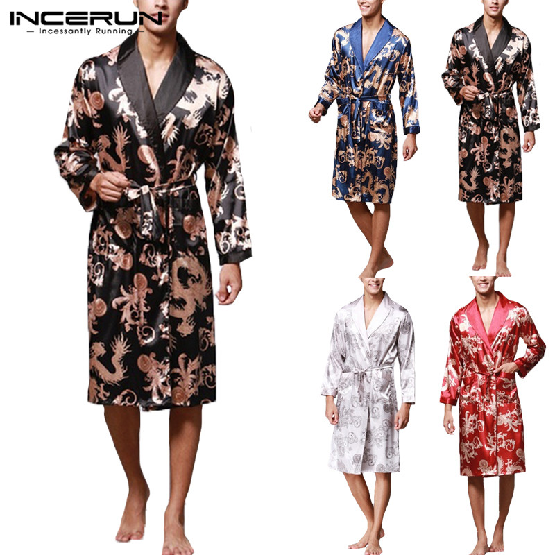 Ethnic Mens Robe Long Sleeves Bathrobe Silk Kimono Chinese Lucky Dragon Print Pajamas Bathrobe Night Dressing Gown Masculina