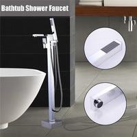 Xueqin Chrome Floor Stand Faucets Shower Floor Bathtub Mixer Tap Faucet Mixer Single Handle Shower Tap Bathroom Shower Faucet