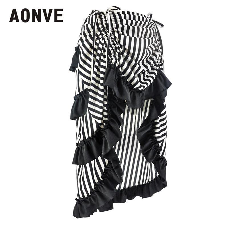 Aonve Striped Ruffle Goth Skirt Women Punk Rave Clothes Plus Size Black Red Skirts Faldas Mujer Jupe Longue Femme