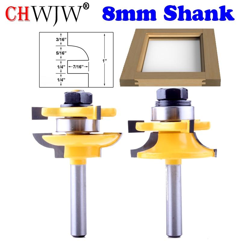 2PC 8mm Shank high quality Raised Panel Cabinet Door font b Router b font Bit Set