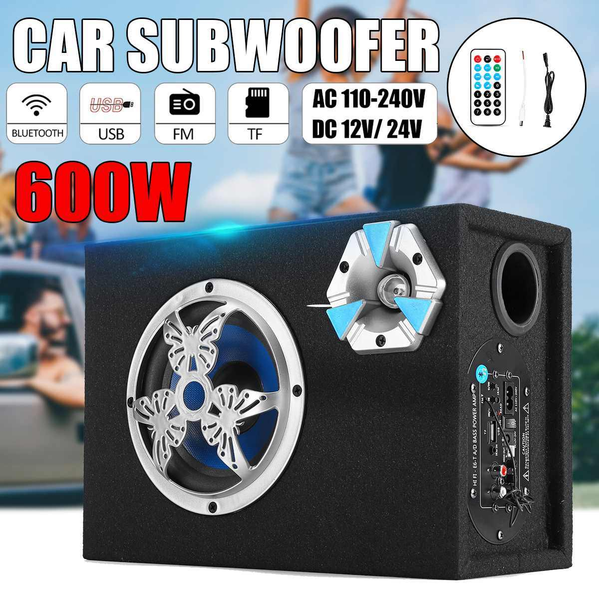 6 inch 600W bluetooth Car Subwoofer Speaker Bass Auto Stereo Amplifier Home Audio USB/ TF Cards/ FM Radio Remote Control