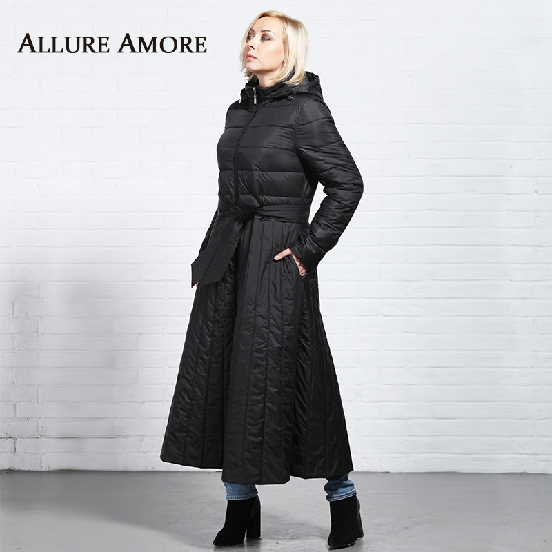 New Spring   Parka   Female Slim Fit Women's Long Coats Hooded Removable Outerwear Woman Windproof Coat Plus Size AllureAmore 2019