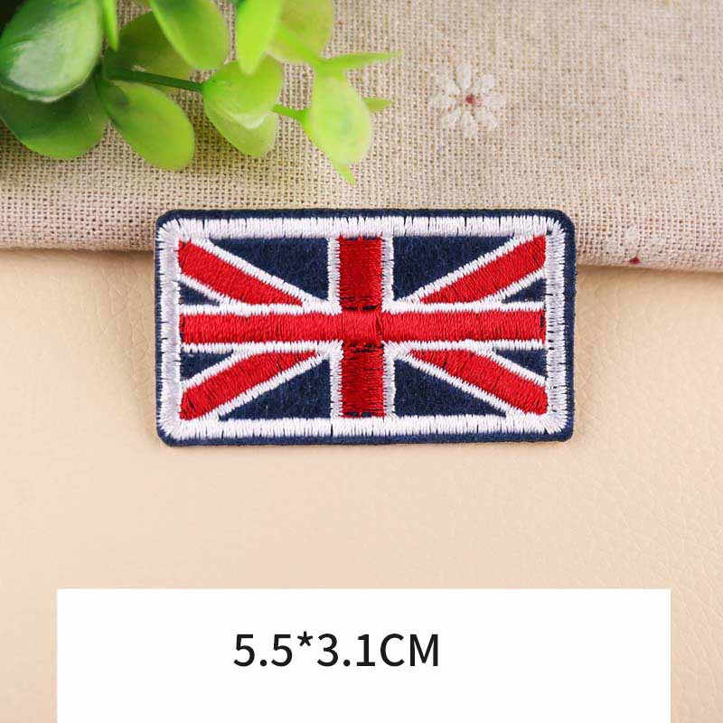 ประเทศธง Patch สำหรับเสื้อผ้าเย็บปักถักร้อยสหรัฐอเมริกาธงอังกฤษธงธงเกาหลีแพทช์เสื้อ Applique แขน Badge
