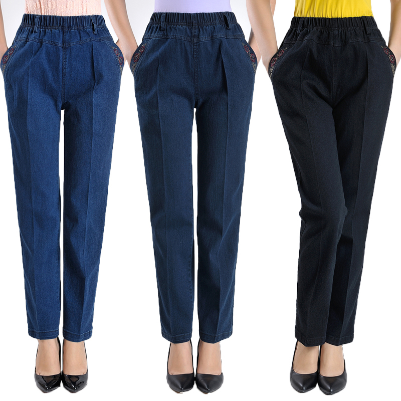 Fashion Straight   Jeans   Woman Washed High Waist   Jeans   Casual Pockets Embroidery Denim Pants Pantalones Vaqueros Mujer Plus Size