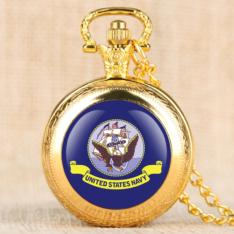 Eagle Purple Pattern Dial United States Navy Quartz Pocket Watch Necklace Pendant For Men Women Fob Clock Chain Collectibles