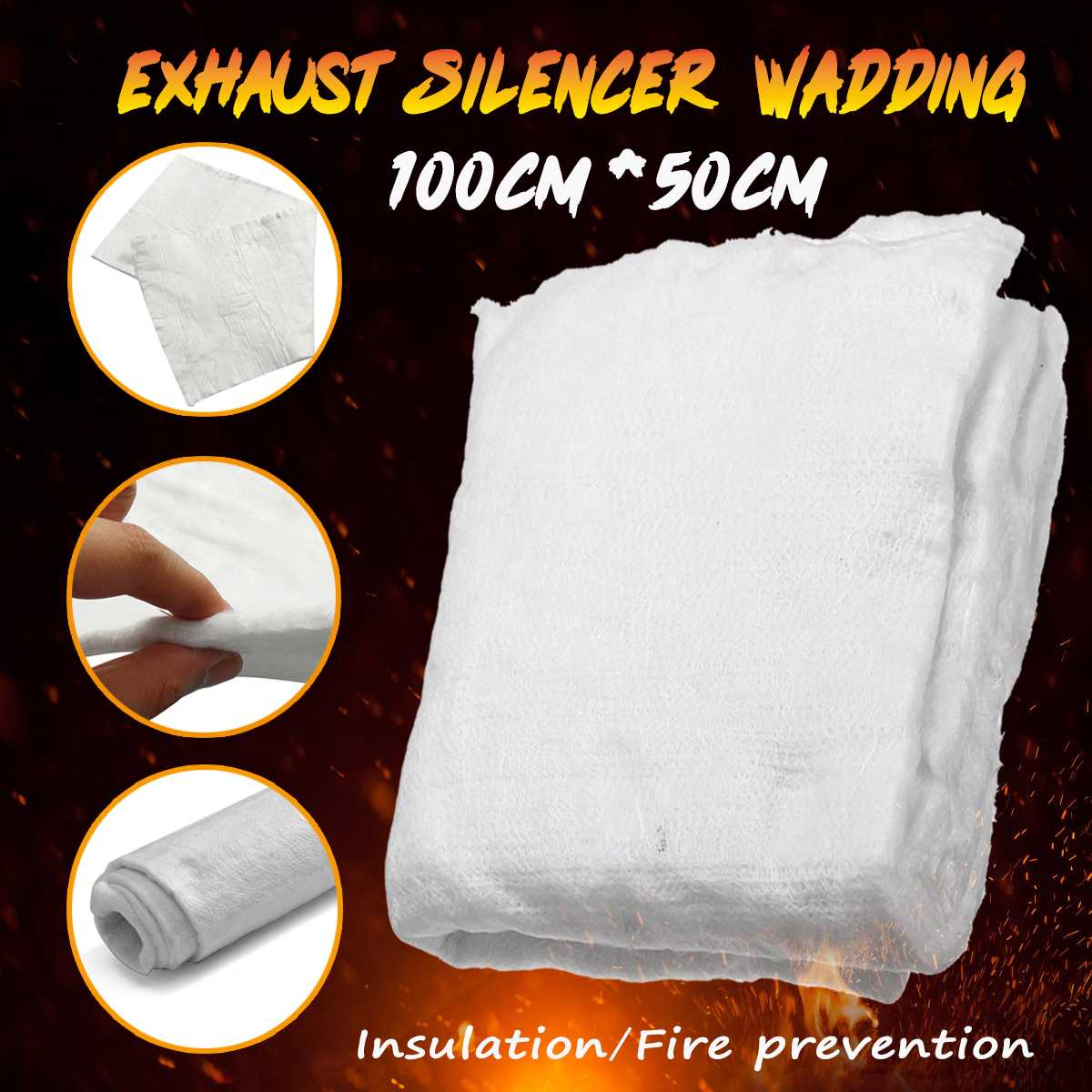 100cmx50cm Motorcycle Exhaust  Insulation Cotton Exhaust Silencer Wadding Sheet Insulation Cotton Blanket|Exhaust  Assembly| |  - title=