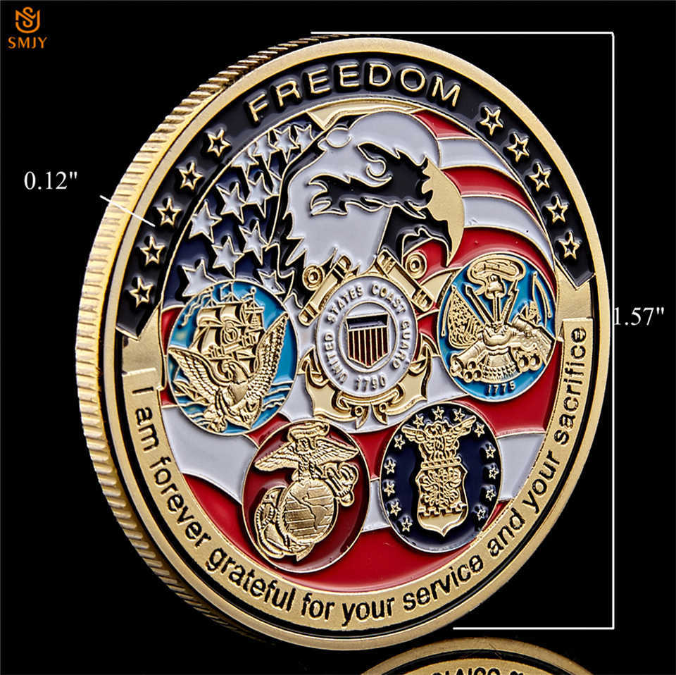 Amerika Serikat Angkatan Laut USAF USMC Tentara Penjaga Pantai Amerika Gratis Eagle Totem Emas Militer Medali Tantangan Koin Koleksi