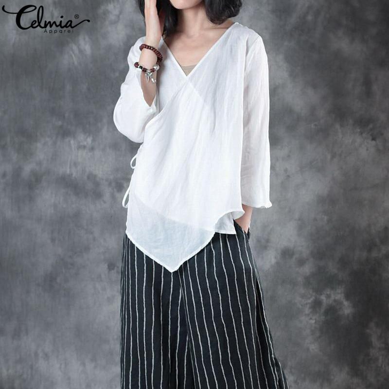 018568bb15081 2018 Celmia Plus Size Women Long Sleeve Cotton Vintage Blouses Asymmetric  Tops V Neck Casual Loose