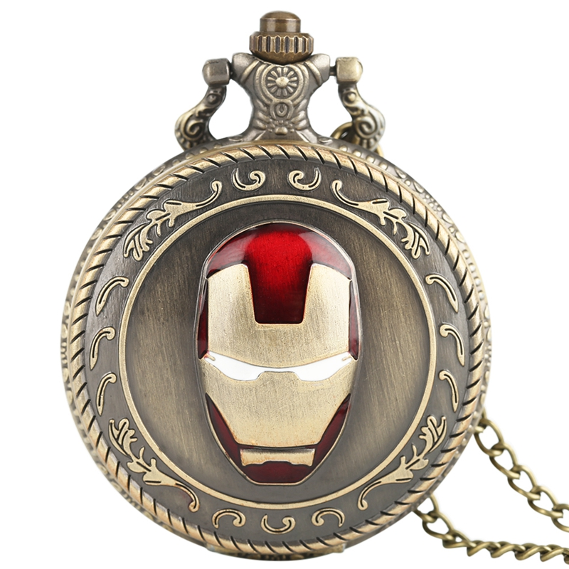 Awesome Iron Man Top Vintage Pocket Watch Quartz Analog Mask Superman Necklace Chain Copper Avengers Gifts For Men Collectibles