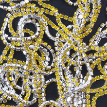 ZOTOONE 1Yard SS6 Lemon Yellow Nails Rhinestone Chain Strass Applique Crystal Trim Stones for Clothes Decoration Sew on Garment