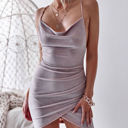 Sexy Cami Party Dress Women High Slit Peplum Bodycon Dress Autumn Sleeveless Bright Silk Shiny Dress