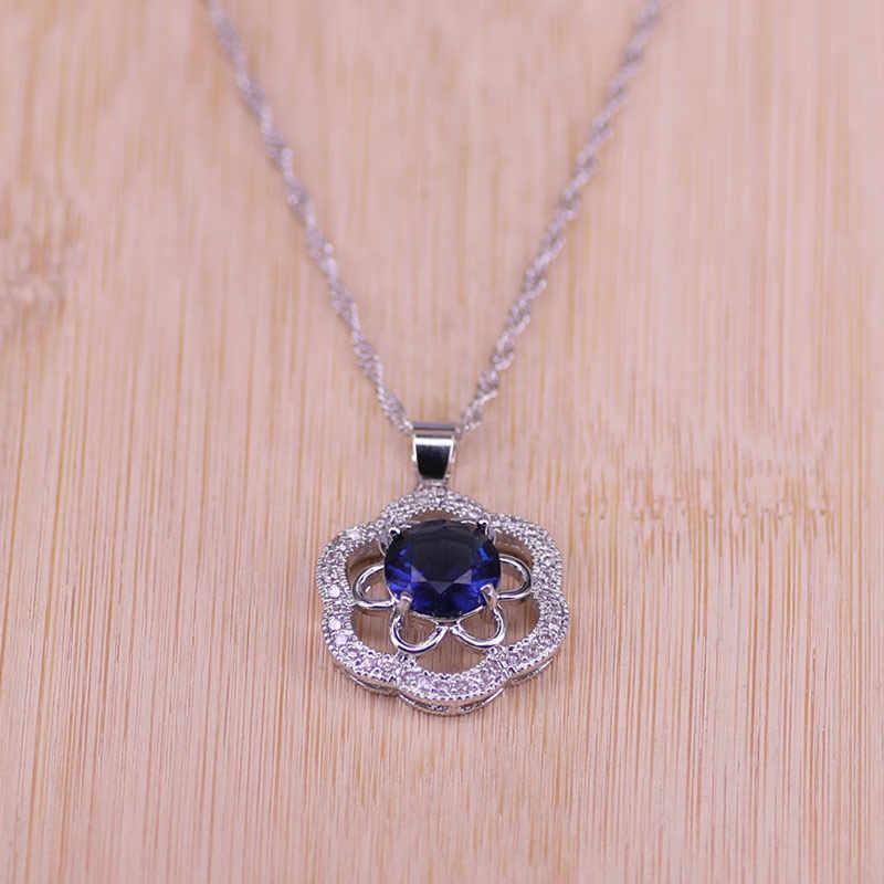 เจ้าสาว 925 เงินสเตอร์ลิงชุดเครื่องประดับ Blue Zirconia ต่างหูหินสำหรับผู้หญิงงานแต่งงานเครื่องประดับแหวนจี้สร้อยคอชุด