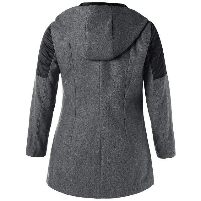 Plus Size Winter Hooded Woollen Patchwork Coat