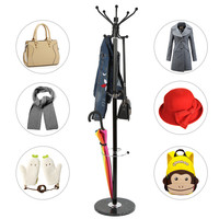 170cm New Tree Style Hat Coat Clothes Rack Hanger Metal Fixed Hall Umbrella Stand Hooks With Marble Base for Home Hotel HWC