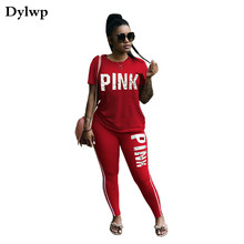 Summer Suits for Women PINK Letter Printing Short Sleeve T-shirt Top And Long Pants Fashion Pink Outfit Two Piece Set Plus Size
