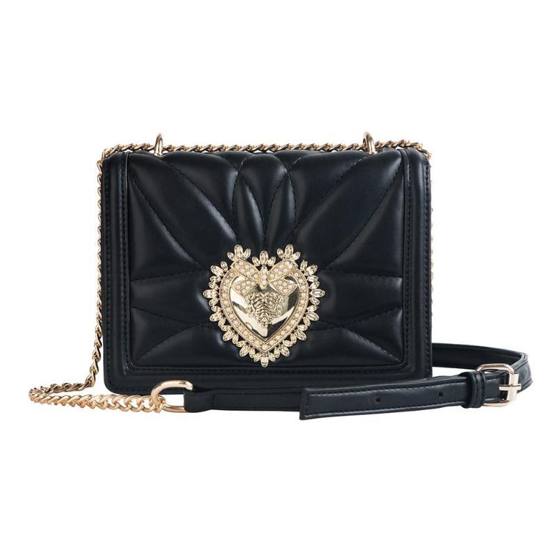 Fashion Heart-shaped Metal Decoration Women's Chain Purse Shoulder Bag Tote Crossbody Lady Messenger Bag Lingge Handbag Z60