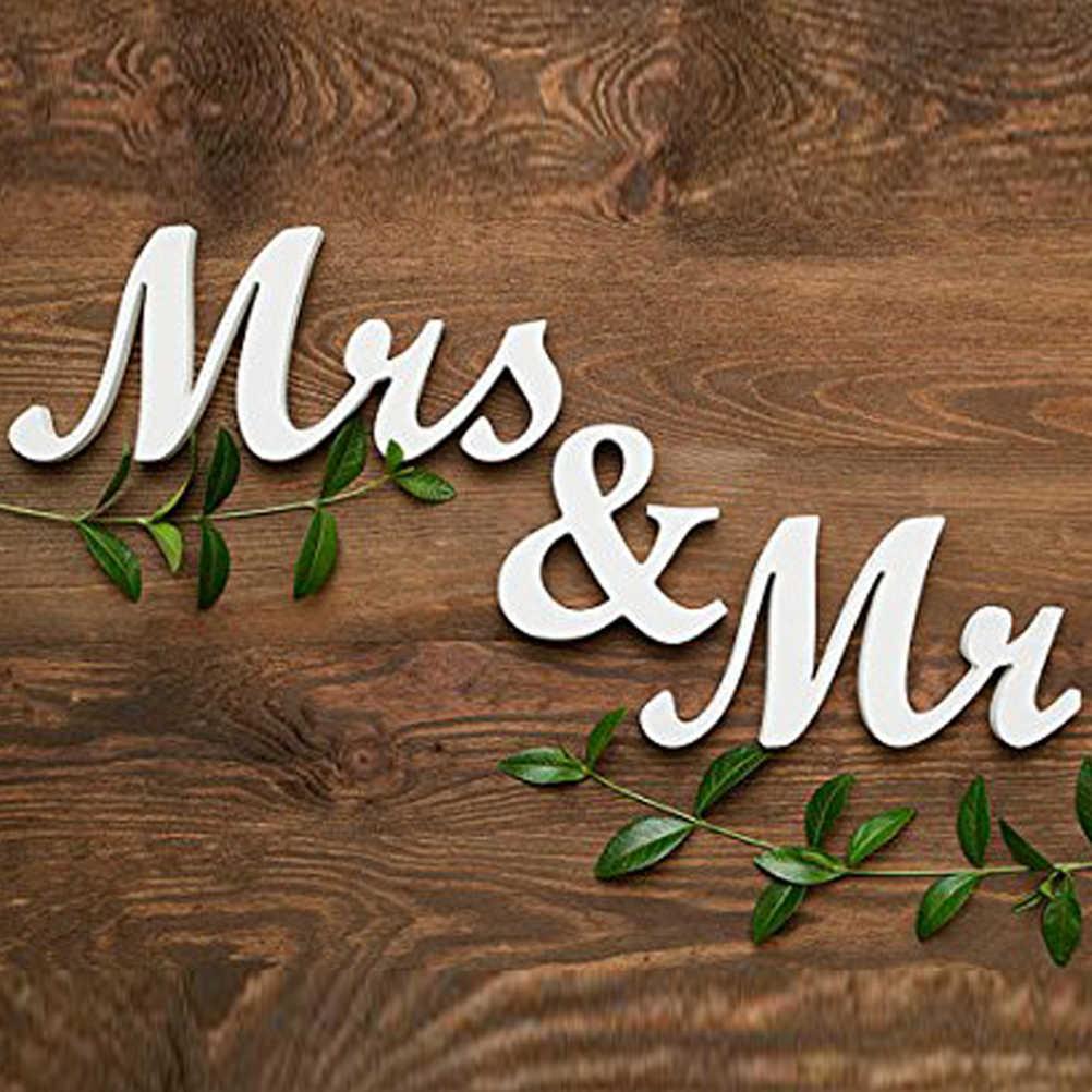 MR & MRS Chữ Cái Bằng Gỗ Trang Trí Đám Cưới Quà cưới (Trắng)