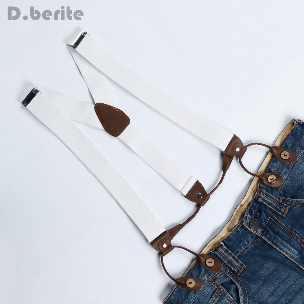 New Mens Adjustable Button Adult Belt Unisex Suspenders Solid White Womens Braces BD706