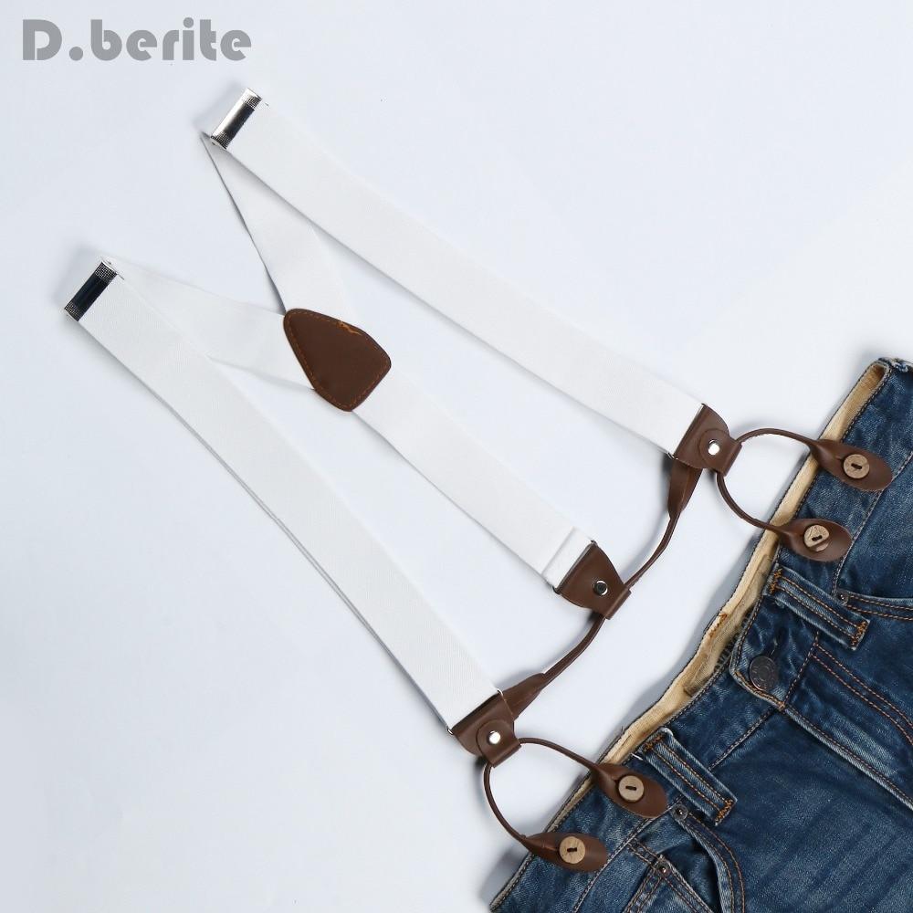 New Mens Adjustable Button Adult Belt Unisex Suspenders Solid White Womens Braces BD706
