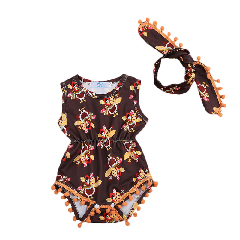 Focusnorm Newborn Baby Girls Bees Romper Sleeveless Print Animal Jumpsuit Outfits Sunsuit 2PCS Clothes