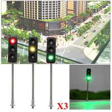 3Pcs Construction HO / OO Model 3-Light Traffic Lights Signal LED Circuit Model 50mm DIY for Architecture Street Train Railway(China)