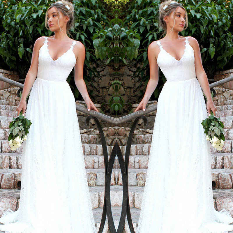 914979894ab6e Women's Formal Wedding Long Party Ball Dresses Lace Chiffon Long Maxi Dress  Solid White Backless Sundress