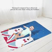 110*158cm Baby Changing Mat Waterproof Baby Infant Urine Pad Soft Cotton Bed Game Play Cover Cartoon Diaper Changing Mat(China)