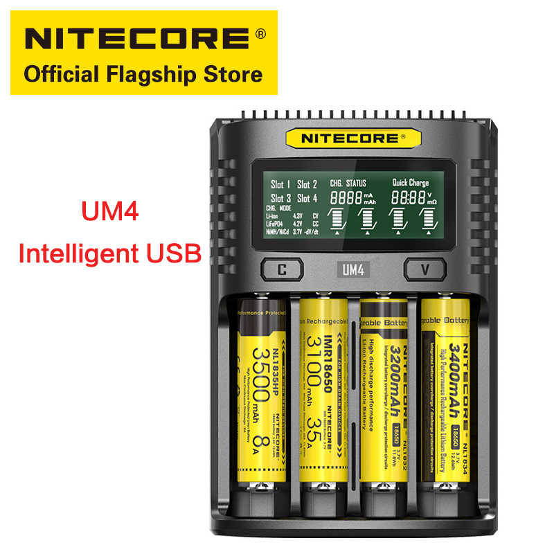 NITECORE UM4 multi-function four-slot quick charging with repair activation USB chargerNITECORE UM4 multi-function four-slot quick charging with repair activation USB charger