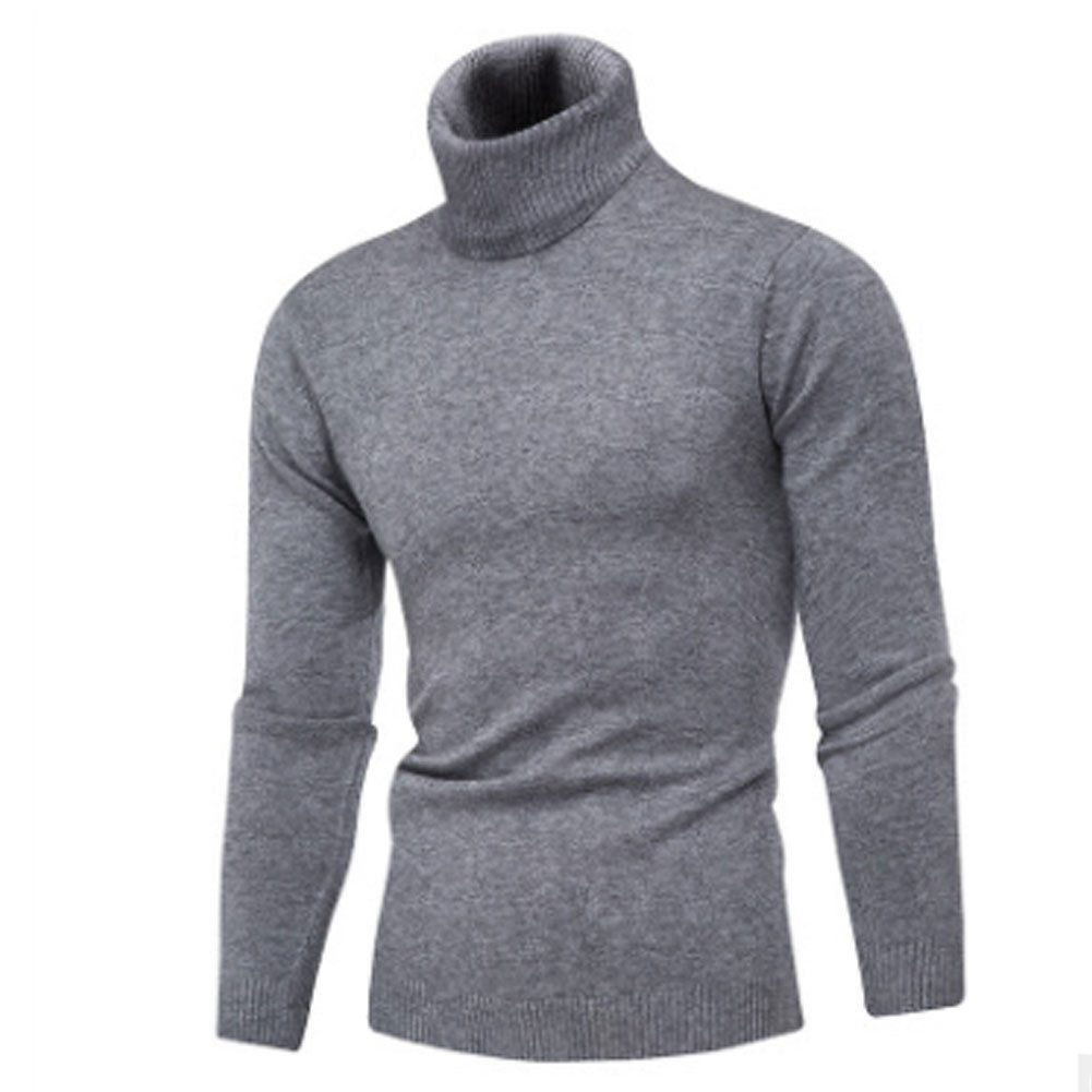 New Men Winter Turtleneck Pullovers Thermal Knitted Sweater Man Funnel Neck Jumpers Knitting Soid Knitwear Sweater Warm Male Men