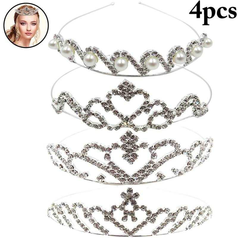 4PCS Wedding Hair Band Rhinestone Crown Headband Elegant Bridal Party Headpiece For