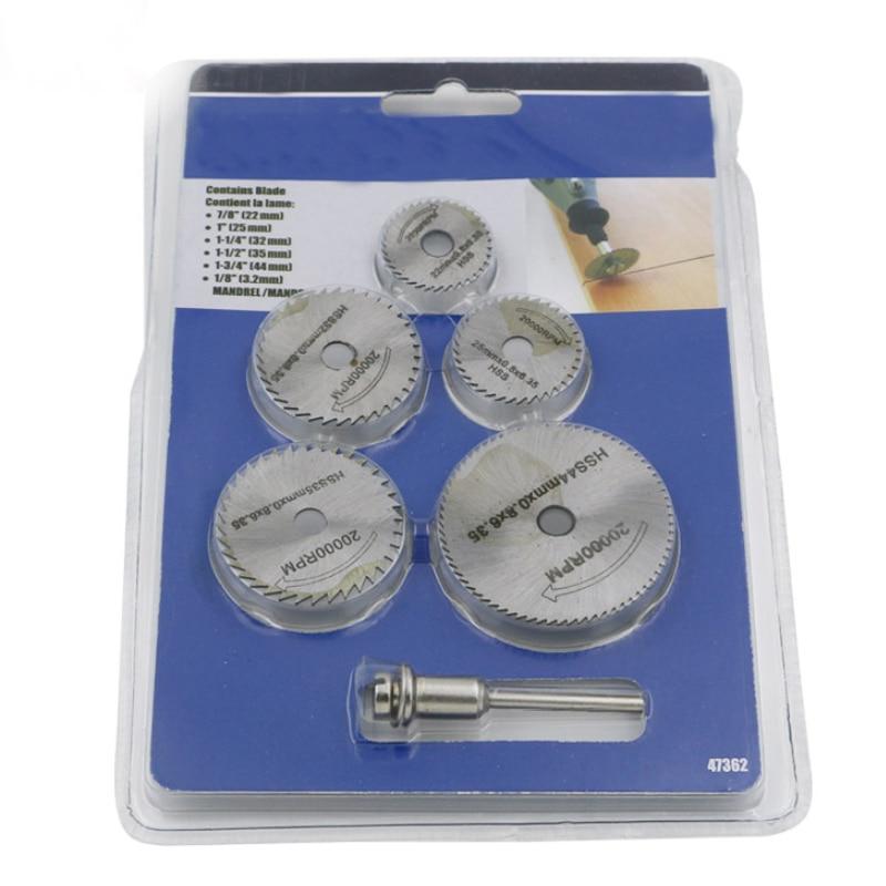 6pcs 22-44mm Mini HSS Circular Saw Blade Jig Saw Rotary Tool For Dremel Metal Cutter Power Tool Set Wood Cutting Discs