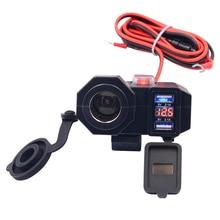1 шт. черный двойной USB зарядное устройство прикуриватель мотоцикл прикуриватель розетка двойной USB зарядное устройство светодиодный вольтметр+ переключатель